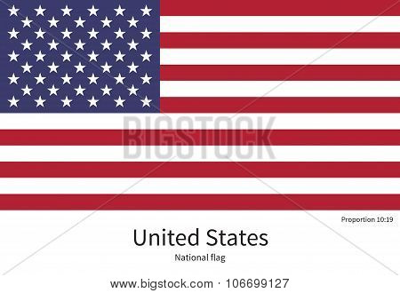 National flag of United States with correct proportions, element, colors for