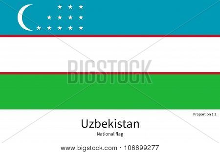 National flag of Uzbekistan with correct proportions, element, colors for
