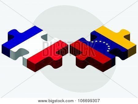 France And Venezuela Flags