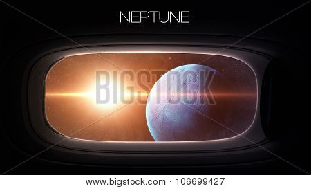 Neptune - Beauty of solar system planet in spaceship window porthole. Elements of this image furnish
