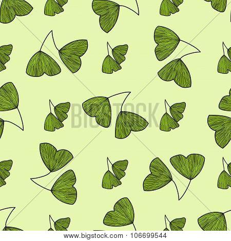 Seamless pattern with leaves of Gingko biloba