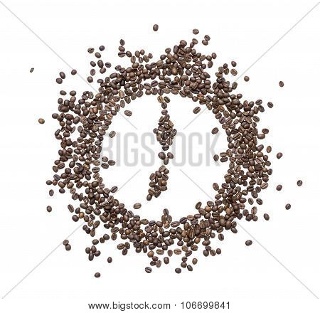 The Dial Of The Clock Inlaid With Roasted Coffee Beans Showing Seven In The Morning Or Evening