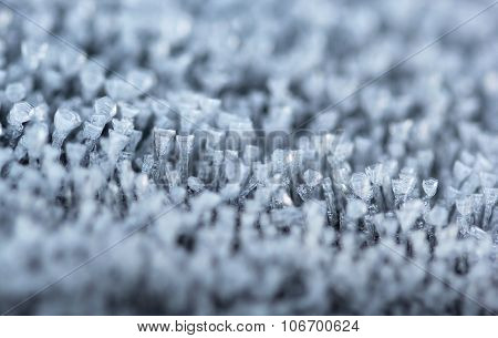 The Small Tiny Ice Columns And Spikes Macro Shot