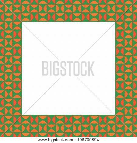 Abstract mosaic kaleidoscope regular green orange frame