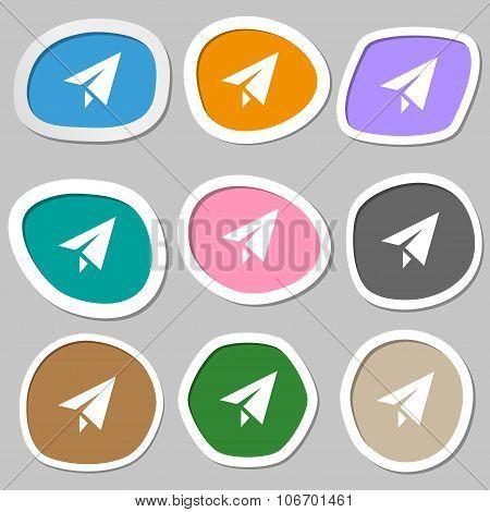 Paper Airplane Icon Symbols. Multicolored Paper Stickers. Vector