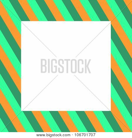 Oblique striped gold green frame with clear white copyspace