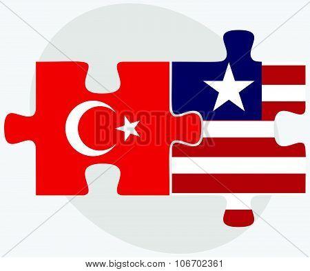 Turkey And Liberia Flags