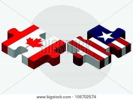 Canada And Liberia Flags