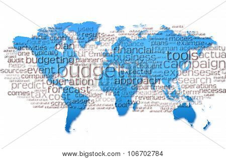 Word Cloud Of  Budget With World Map Background