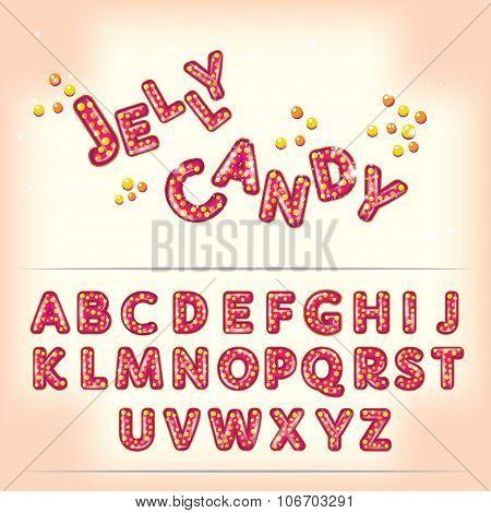 Comic Cartoon Jelly Candy Style Alphabet