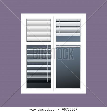 vector closed white window with the louver