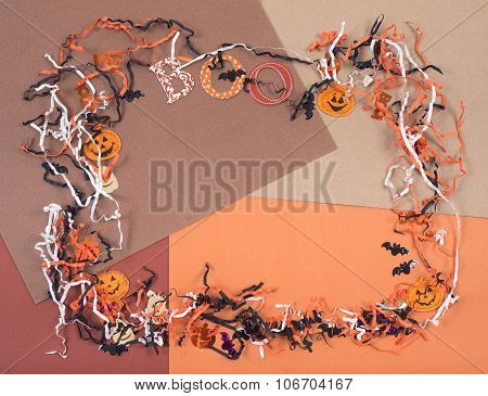 Crafting Accessories For Halloween Arranged In A Frame Shape