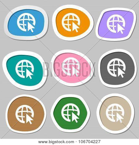 Internet Sign Icon. World Wide Web Symbol. Cursor Pointer. Multicolored Paper Stickers. Vector