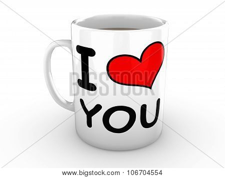 I Love You - Red Heart On A White Mug