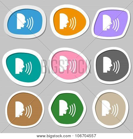 Talking Flat Modern Web Icon. Multicolored Paper Stickers. Vector