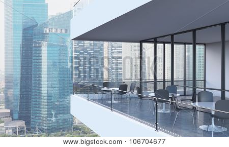 A Woman Is Looking At Singapore Standing On The Terrace In A Modern Skyscraper With Panoramic Window