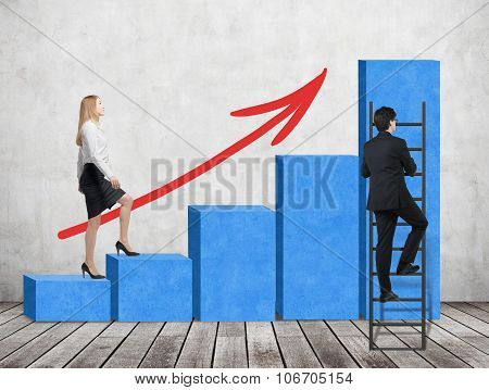 A Woman In Formal Clothes Is Going Up Through A Blue Bar Chart, While A Man Has Found A Shortcut How