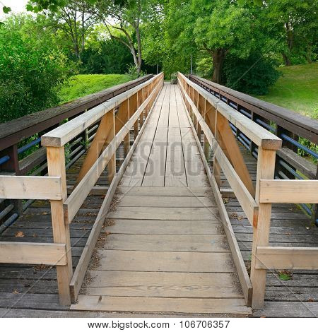 Wooden bridge in the park