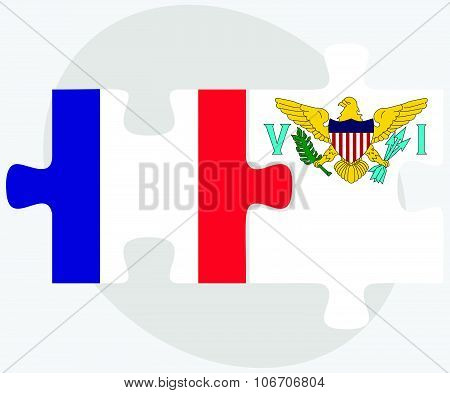 France And Virgin Islands (u.s.) Flags