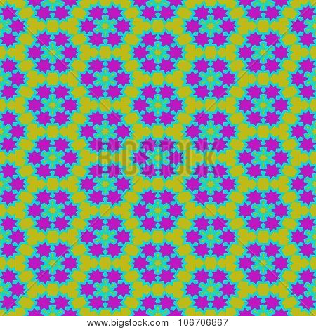 Abstract seamless kaleidoscopic yellow blue purple geometric pattern