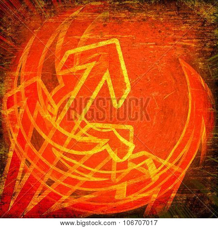 Grunge red arrows on vintage background