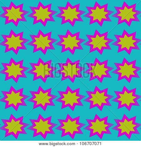 Abstract regular yellow pink blue starry background