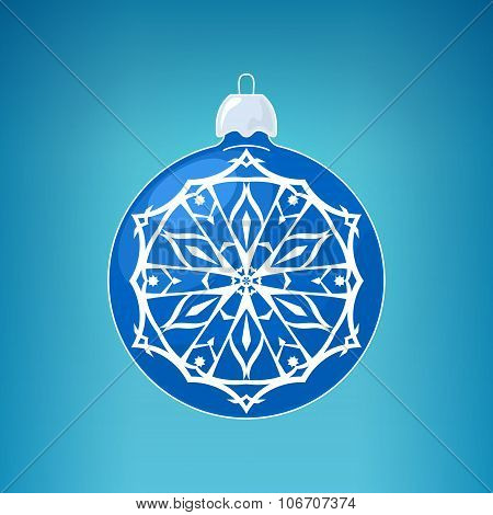 Blue Ball with Snowflake , Merry Christmas