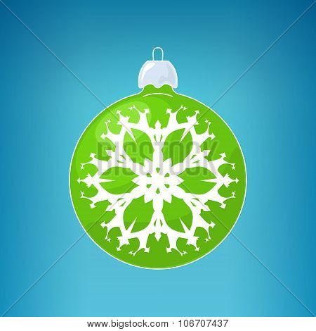 Green Ball with Snowflake