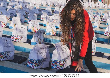 Closing Ceremony Bags At Expo 2015 In Milan, Italy