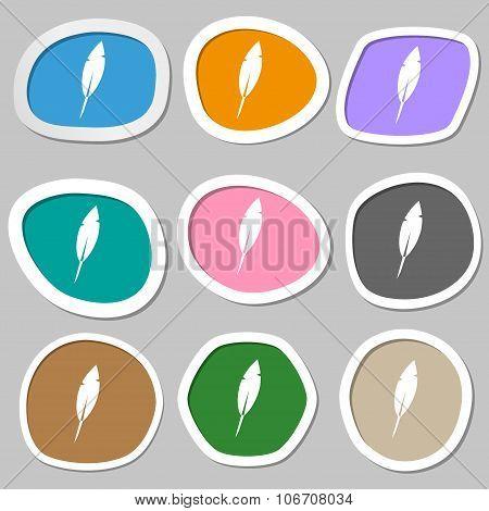 Feather Sign Icon. Retro Pen Symbo. Multicolored Paper Stickers. Vector