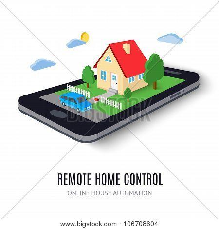 Remote home control concept icon. Vector illustration.