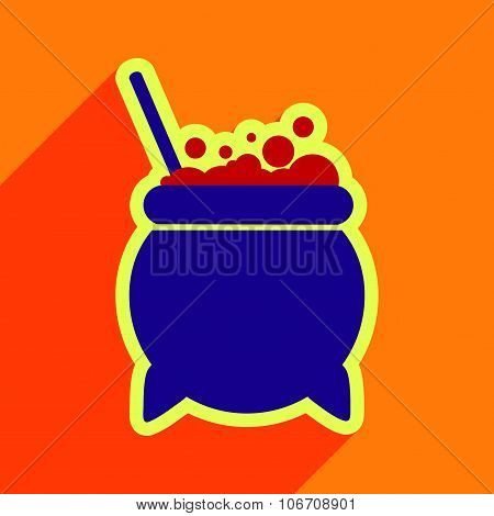 Flat with shadow icon cauldron on a bright background