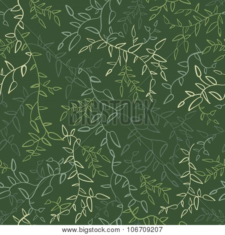 Floral seamless pattern with leaves.  illustration
