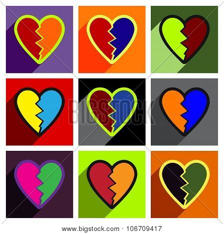 Flat with shadow concept Heart broken pieces on colored background