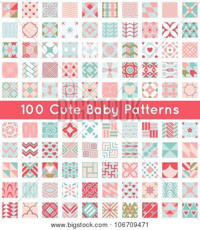 100 Cute baby seamless pattern. Retro pink, white and blue color