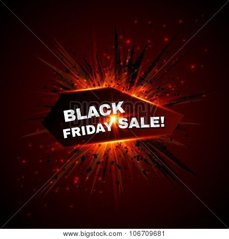 Black friday sale banner with explode on background