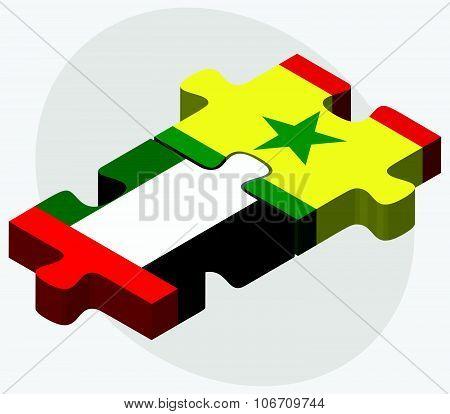 United Arab Emirates And Senegal Flags