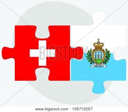 Switzerland And San Marino Flags