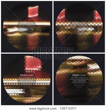 Set of 4 music album cover templates. Night city landscape. Abstract multicolored backgrounds. Natur