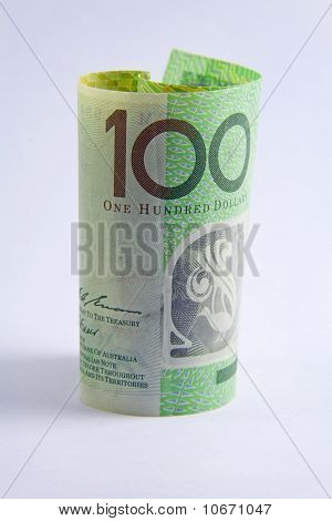 Rolled Up Australian 100 Dollar Note