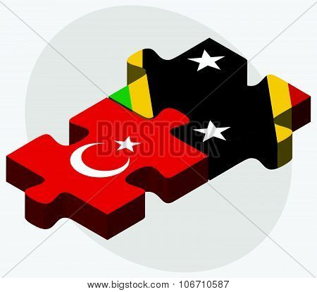 Turkey And Saint Kitts And Nevis Flags