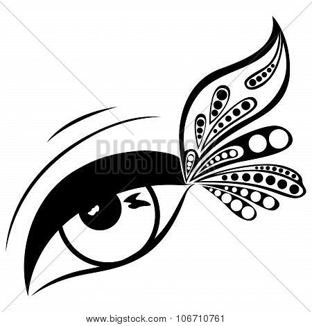 Human Eye With Patterned Butterfly Wing