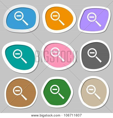 Magnifier Glass, Zoom Tool Icon Sign. Multicolored Paper Stickers. Vector