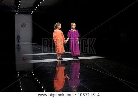 ST. PETERSBURG, RUSSIA - OCTOBER 27, 2015: Children collection at the fashion show during Mercedes-Benz Fashion Day St. Petersburg. It is one of the most popular fashion events of the city