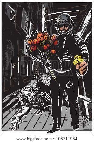Policeman With Flowers, Gentle Hero - Freehand, Vector