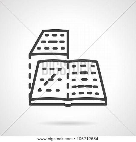 Book layout black line vector icon