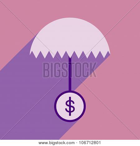 Flat design modern vector illustration icon umbrella dollar