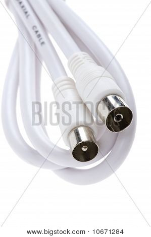Coaxial Cable On White