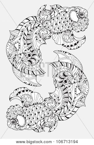 Zentangle stylized floral china fish doodle.
