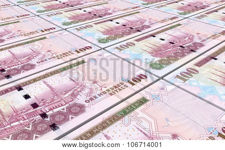 Saudi Arabia rials bills stacked background. Computer generated 3D photo rendering.